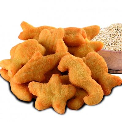 Figurinhas de pescada e quinoa