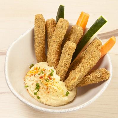 Finger falafel, crudites y humus
